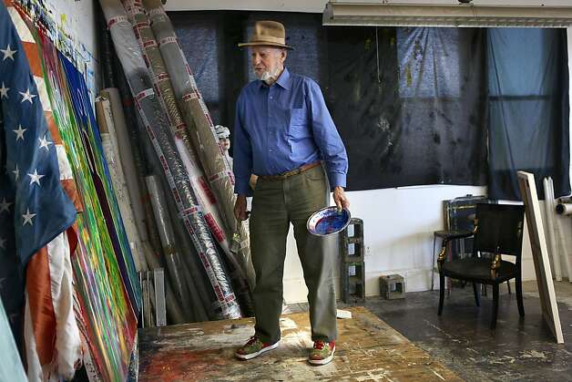 Legendary poet, artist, and publisher Lawrence Ferlinghetti at his art studio in San Francisco, Calif., in front of a recent painting seeing the difference with and without the flag on Monday, September 10, 2012. Photo: Liz Hafalia, The Chronicle
