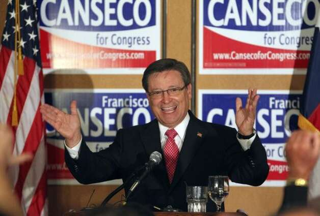 METRO   Francisco Canseco celebrates his victory  in the District 23 Congressional District race over Ciro  Rodriguez at the Crowne Plaza San Antonio Airport  on  Nov. 2,  2010.  Tom Reel/Staff (TOM REEL / SAN ANTONIO EXPRESS-NEWS)