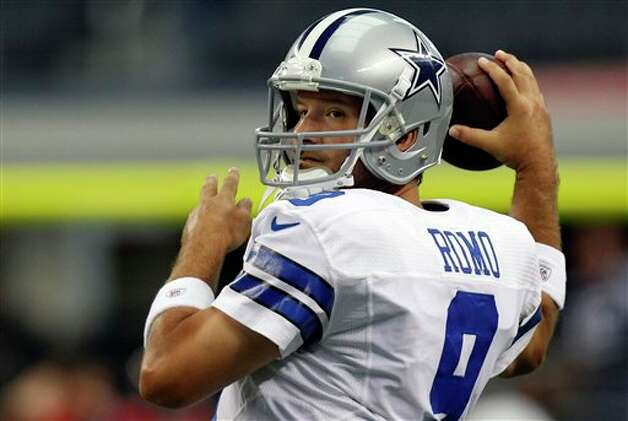 Dallas Cowboys quarterback Tony Romo (9) warms up before an NFL football game against the Tampa Bay Buccaneers, Sunday, Sept. 23, 2012, in Arlington, Texas. (AP Photo/LM Otero) Photo: LM Otero, Associated Press / AP
