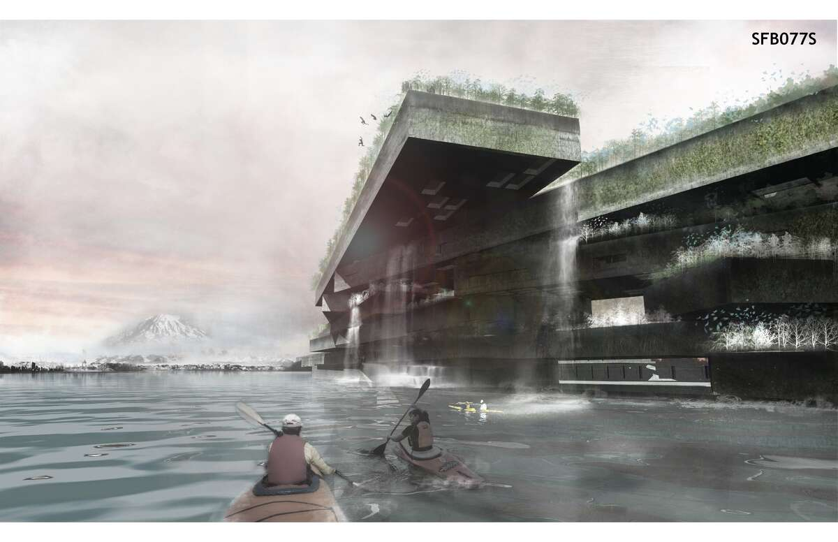 Teams from 20 countries submitted their ideas on what to do with the old 520 Bridge's pontoons when the bridge is decommissioned. This entry would reuse the 520 pontoons as a floating mountain and wildlife habitat.