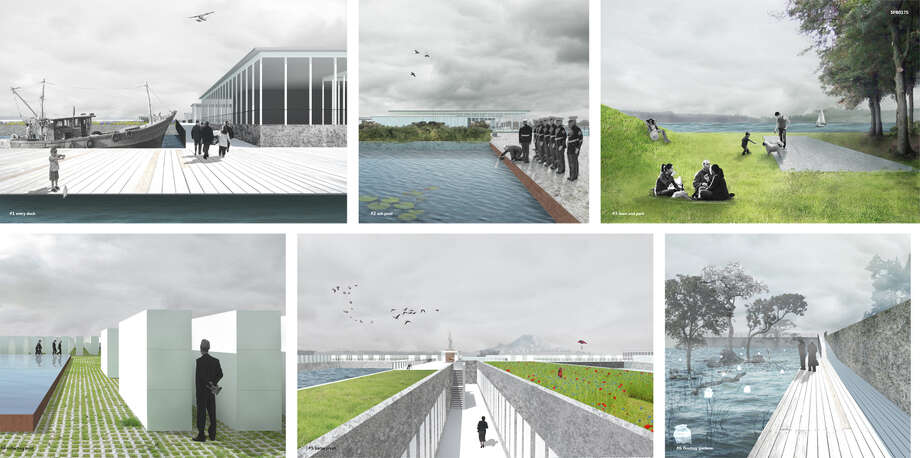 "This entry imagined transforming the pontoons into a floating cemetery and park on Lake Washington. According to the design poster, spreading of ashes would be allowed in designated gardens. The pontoons would be arranged ""to create small tranquil inlets where acquatic gardens can flourish and filter the lakewater."" As a urial psace, the gardens would provide a place for ""biodegradeable urns to float until they descend to the bottom of the lake and nourish the local ecosystem."" Photo: Photos Provided By Sara Strause."