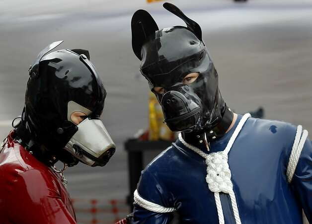 At the San Francisco K9 unit demonstration, Argus (right) is tied up by a friend during the annual fair. Photo: Brant Ward, The Chronicle