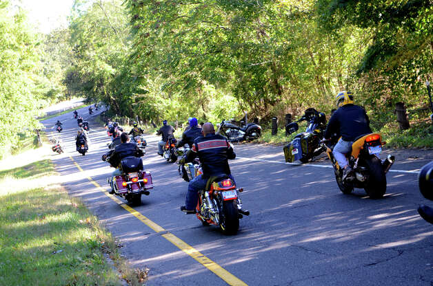 The fourth annual Thunder on the Sound Motorcycle Ride and BBQ benefiting the Brian Bill Memorial Fund on Sunday, Sept. 23, 2012 in Stamford. Bikers assembled in the park and ride lot at Exit 35 off the Merritt Parkway. Photo: Amy Mortensen / Connecticut Post Freelance