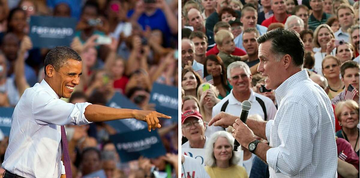 FILE - In these Aug. 2012 file photos, President Barack Obama and Republican presidential candidate, former Massachusetts Gov. Mitt Romney, right, campaign in swing states, Obama in Leesburg, Va., and Romney in Waukesha, Wis. The challenge for Obama and Romney is how to lay claim to the small but mightily important swath of the electorate, the undecided likely voter. With six hard-fought weeks left in the campaign, just 7 percent of likely voters have yet to pick a candidate, according to an Associated Press-GfK poll. (AP Photos)