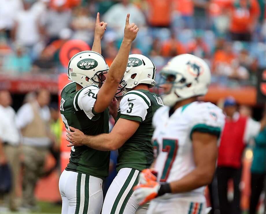 Jets kicker Nick Folk had reason to celebrate after getting a second chance to win the game. Photo: Marc Serota, Getty Images