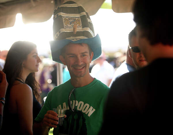 Wearing a beer keg hat, Matt Singer, of Haddam, comes dressed for the occasion at the first annual Hoptoberfest at Warsaw Park in Ansonia on Sunday, September 23, 2012. Photo: Brian A. Pounds / Connecticut Post
