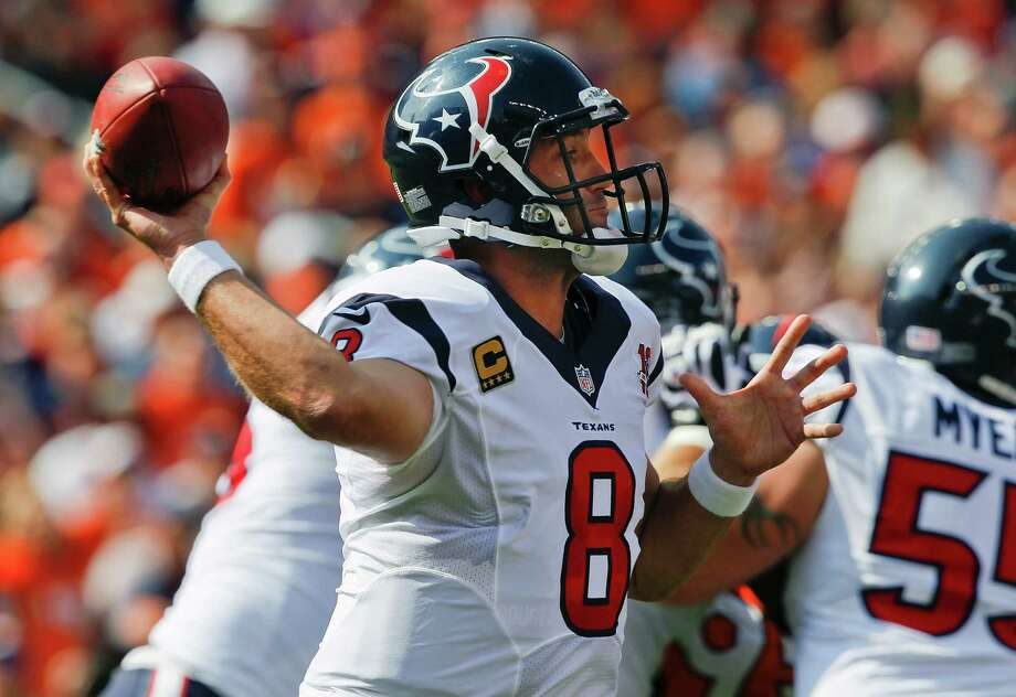 Houston Texans quarterback Matt Schaub (8) passes against the Denver Broncos in the first quarter of an NFL football game Sunday, Sept. 23, 2012, in Denver. (AP Photo/David Zalubowski) Photo: David Zalubowski, Associated Press / AP
