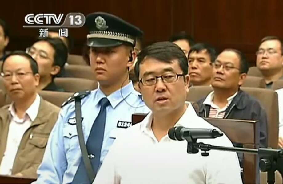 Wang Lijun, in a frame grab from Chinese television, speaks to the court during his corruption trial. Photo: Cctv, AFP/Getty Images
