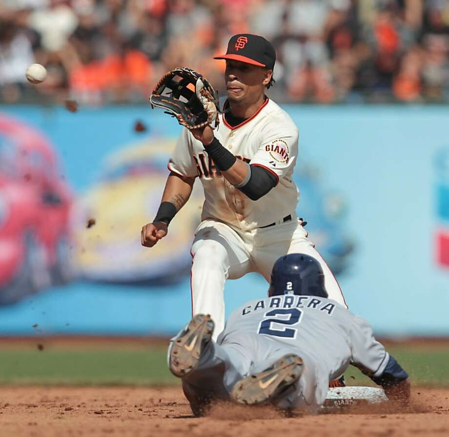 Giants' shortstop Emmanuel Burriss tags makes the out on a steal attempt by the Padres' Everth Cabrera in the fifth inning in San Francisco on Sunday, Sept. 23, 2012. The Padres won 6-4. Photo: Mathew Sumner, Special To The Chronicle