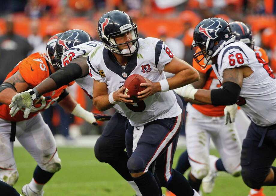 Houston Texans quarterback Matt Schaub (8) drops back to pass against the Denver Broncos in the fourth quarter of an NFL football game Sunday, Sept. 23, 2012, in Denver. (AP Photo/David Zalubowski) Photo: David Zalubowski, Associated Press / AP
