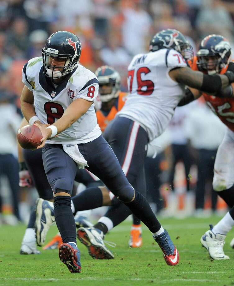 Houston Texans quarterback Matt Schaub (8) looks to hand off the ball in the fourth quarter of an NFL football game against the Denver Broncos, Sunday, Sept. 23, 2012, in Denver. (AP Photo/Jack Dempsey) Photo: Jack Dempsey, Associated Press / FR42408 AP