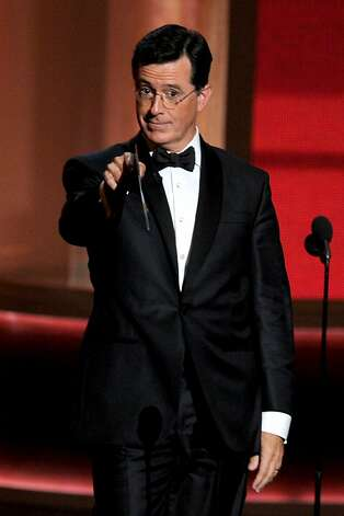 Television personality Stephen Colbert onstage during the 64th Annual Primetime Emmy Awards at Nokia Theatre L.A. Live on September 23, 2012 in Los Angeles, California.  (Photo by Kevin Winter/Getty Images) Photo: Kevin Winter, Getty Images