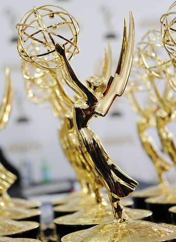 Emmy statuettes await their recepients at the 64th annual Prime Time Emmy Awards at the Nokia Theatre at LA Live in Los Angeles, California September 23, 2012.  Bowen won for the award for Best Supporting Actress in a Comedy Series.  AFP PHOTO / ROBYN BECKROBYN BECK/AFP/GettyImages Photo: Robyn Beck, AFP/Getty Images