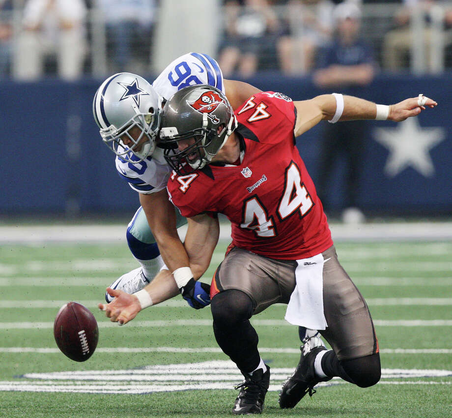 Dallas Cowboys'ssafety Mana Silva is called for pass interference against Tampa Bay Buccaneers', tight end Dallas Clark during the second half at Cowboys Stadium in Arlington, Texas, Sunday Sept. 23, 2012. The Cowboys won 16-10. Photo: Jerry Lara, Express-News / © 2012 San Antonio Express-News