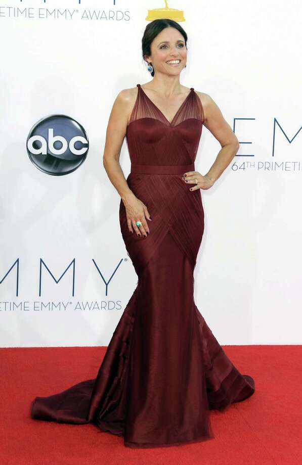 ON THE FENCE:There's nothing obviously wrong with Julia Louis-Dreyfus' gown by esteemed designer Vera Wang, except for the visual reference to the world's great suspension bridges. Photo: MATT SAYLES/INVISION/AP