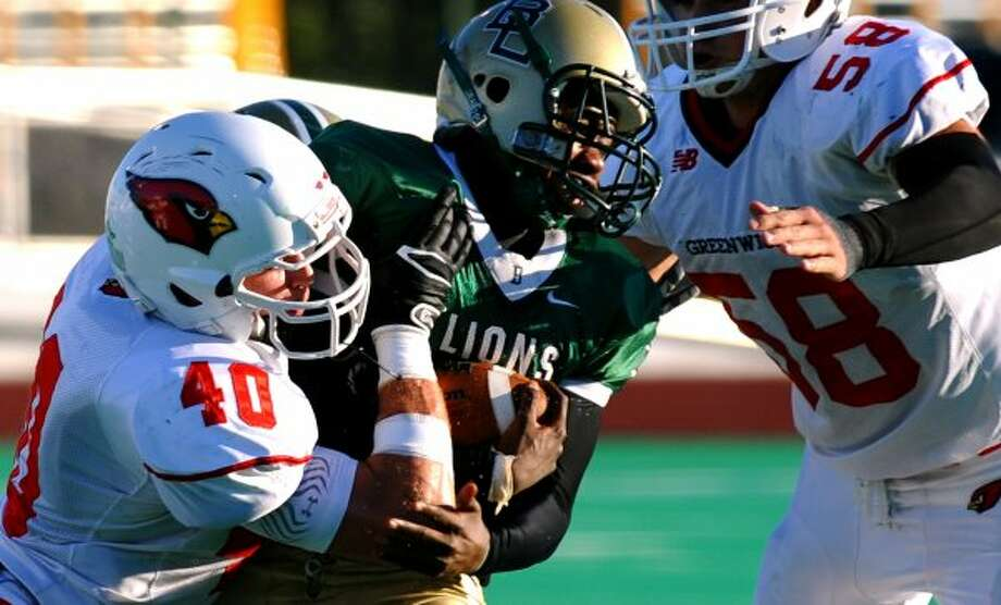 Football action between Greenwich and Bassick in Kennedy Stadium at Central High School in Bridgeport, Conn. on Friday September 21, 2012. (Christian Abraham / Christian Abraham)
