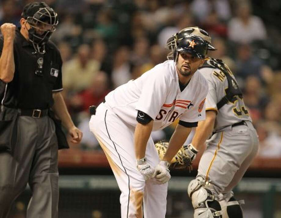 Houston Astros third baseman Scott Moore (46) reacts as he strikes out during the fifth inning of an MLB baseball game at Minute Maid Park on Saturday, Sept. 22, 2012, in Houston.  ( Karen Warren / Houston Chronicle ) (Houston Chronicle)