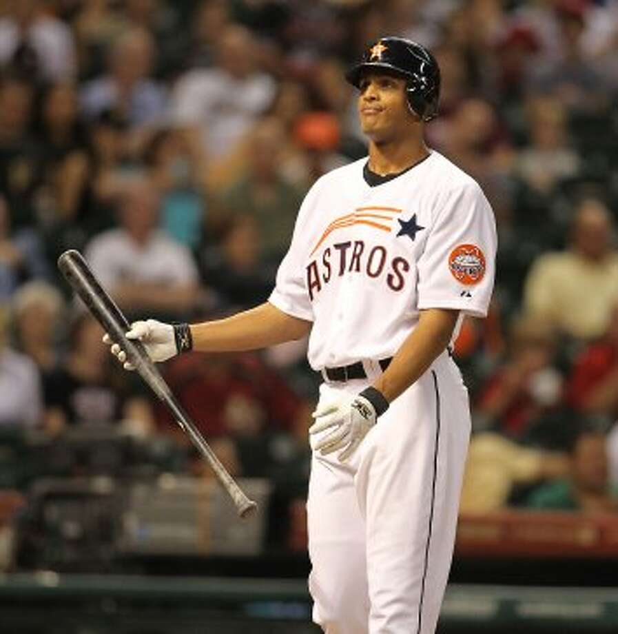 Houston Astros center fielder Justin Maxwell (44) reacts as he strikes out during the sixth inning of an MLB baseball game at Minute Maid Park on Saturday, Sept. 22, 2012, in Houston.  ( Karen Warren / Houston Chronicle ) (Houston Chronicle)