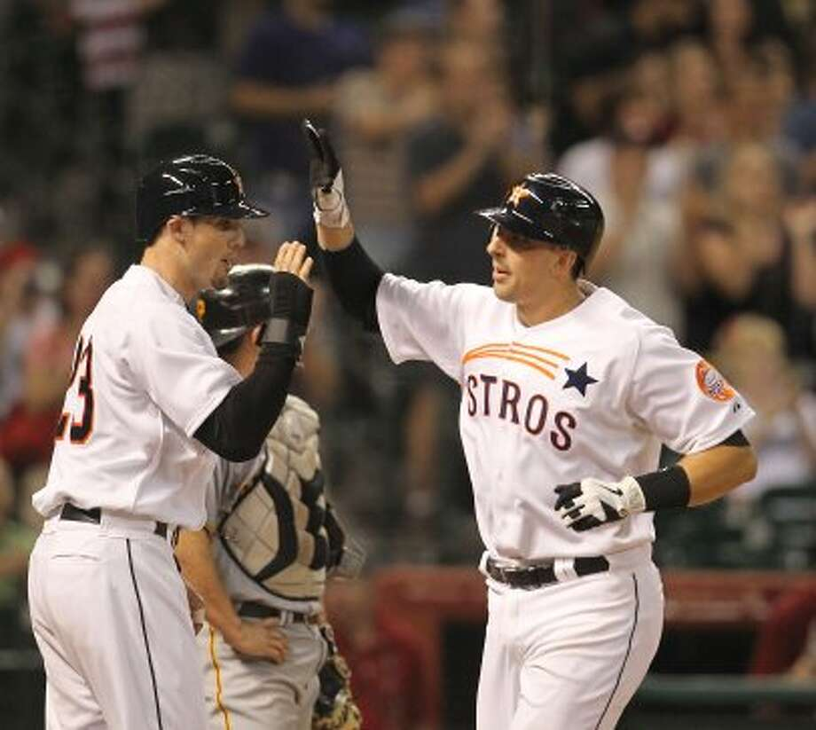 Houston Astros catcher Jason Castro (15) celebrates his three-run home run during the seventh inning of an MLB baseball game at Minute Maid Park on Saturday, Sept. 22, 2012, in Houston.  ( Karen Warren / Houston Chronicle ) (Houston Chronicle)