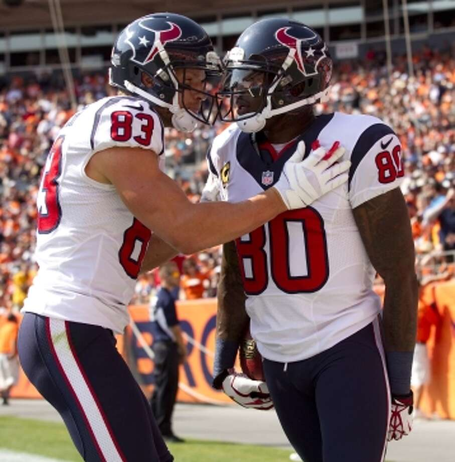 Texans wide receivers Andre Johnson and Kevin Walter each had a touchdown apiece. (Brett Coomer / © 2012  Houston Chronicle)