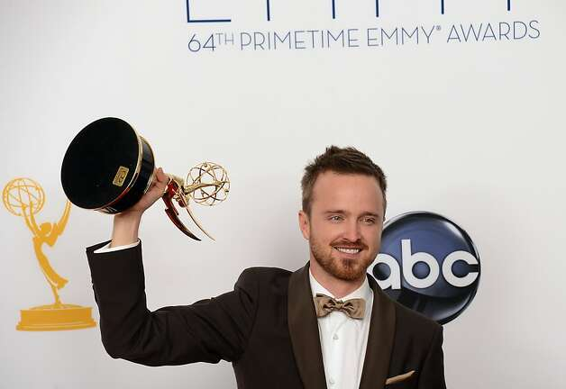 Aaron Paul poses in the press room at the 64th annual Prime Time Emmy Awards at the Nokia Theatre at LA Live in Los Angeles, California September 23, 2012.  AFP PHOTO / JOE KLAMARJOE KLAMAR/AFP/GettyImages Photo: Joe Klamar, AFP/Getty Images