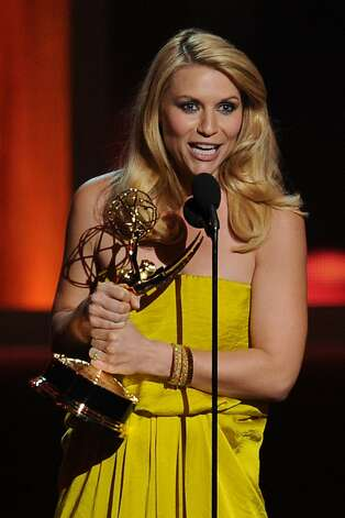 "LOS ANGELES, CA - SEPTEMBER 23:  Actress Claire Danes accepts Outstanding Lead Actress in a Drama Series for ""Homeland"" onstage during the 64th Annual Primetime Emmy Awards at Nokia Theatre L.A. Live on September 23, 2012 in Los Angeles, California.  (Photo by Kevin Winter/Getty Images) Photo: Kevin Winter, Getty Images"