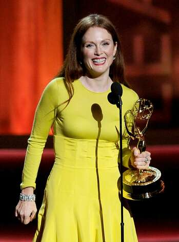 "LOS ANGELES, CA - SEPTEMBER 23:  Actress Julianne Moore accepts Outstanding Lead Actress in a Miniseries or a Movie for ""Game Change"" onstage during the 64th Annual Primetime Emmy Awards at Nokia Theatre L.A. Live on September 23, 2012 in Los Angeles, California.  (Photo by Kevin Winter/Getty Images) Photo: Kevin Winter, Getty Images"