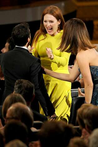 "Actress Julianne Moore wins Outstanding Lead Actress in a Miniseries or a Movie for ""Game Change"" during the 64th Annual Primetime Emmy Awards at Nokia Theatre L.A. Live on September 23, 2012 in Los Angeles, California.  (Photo by Kevin Winter/Getty Images) Photo: Kevin Winter, Getty Images"