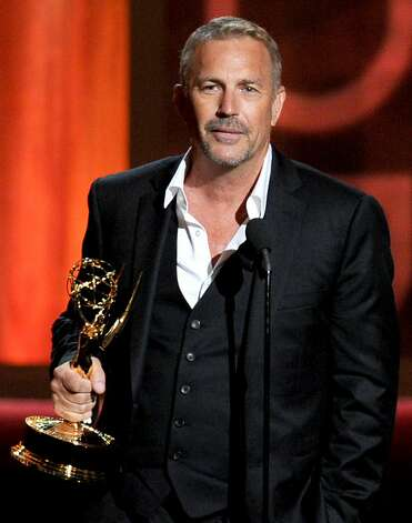 "LOS ANGELES, CA - SEPTEMBER 23:  Actor Kevin Costner accepts Outstanding Lead Actor in a Miniseries or a Movie award for ""Hatfields & McCoys"" onstage during the 64th Annual Primetime Emmy Awards at Nokia Theatre L.A. Live on September 23, 2012 in Los Angeles, California.  (Photo by Kevin Winter/Getty Images) Photo: Kevin Winter, Getty Images"