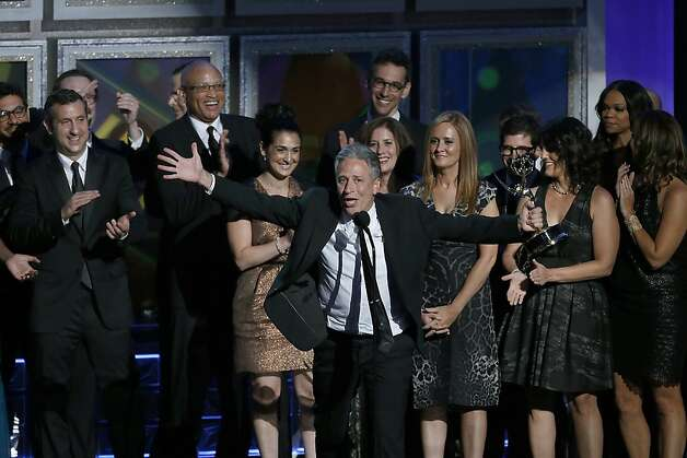 Jon Stewart on stage at the 64th Annual Primetime Emmy Awards on Sunday, September 23, 2011, at Nokia Theatre, L.A. Live, in Los Angeles, California. (Mark Boster/Los Angeles Times/MCT) Photo: Mark Boster, McClatchy-Tribune News Service