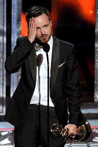 "Actor Aaron Paul accepts Outstanding Supporting Actor in a Drama Series award for ""Breaking Bad"" onstage during the 64th Annual Primetime Emmy Awards at Nokia Theatre L.A. Live on September 23, 2012 in Los Angeles, California.  (Photo by Kevin Winter/Getty Images) Photo: Kevin Winter, Getty Images"