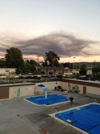Smoke from the fire at the Chevron refinery in Richmond is seen from Benicia, Calif., on August 6, 2012. Photo: Courtesy Nate Kane / SF