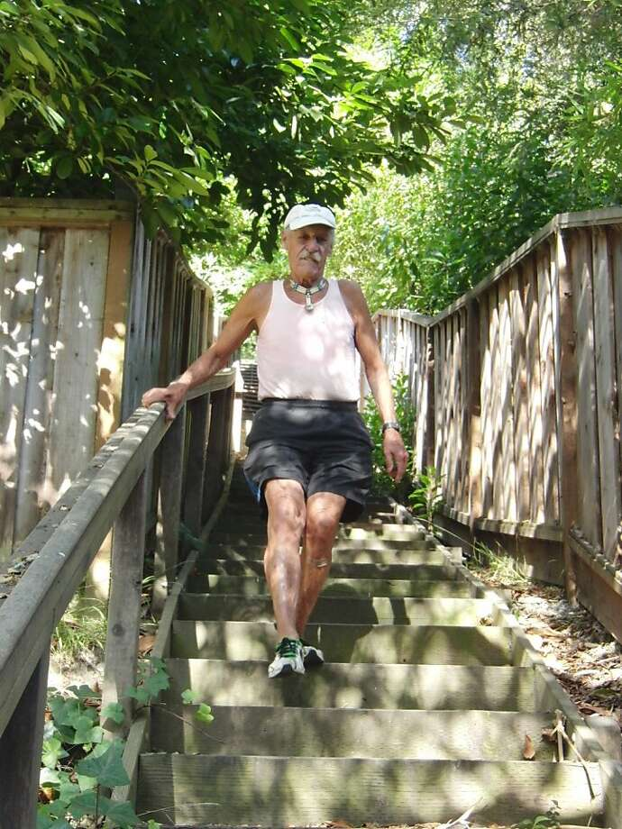 Michael Grbich heads down the Merriewood stairs in Oakland. Photo: Debra Levy Holtz
