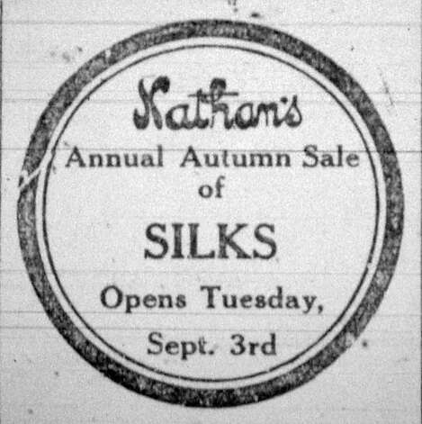 Nathan's announced their silk sale several days in advance in the Saturday, September 21, 1912, six page, Beaumont Daily Journal.  Dave Ryan/The Enterprise Photo: Robert Owen