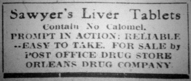 This advertisement stated that these liver tablets contained no Calomel, which was also known as mercurous chloride. This advertisement ran in the Saturday, September 21, 1912, six page, Beaumont Daily Journal.  Dave Ryan/The Enterprise