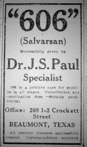 This small ad was for Doctor Paul who offered a cure for syphilis in all it's stages.   This advertisement  ran in the Saturday, September 21, 1912, eight page, Beaumont Enterprise.  Dave Ryan/The Enterprise Photo: Robert Owen
