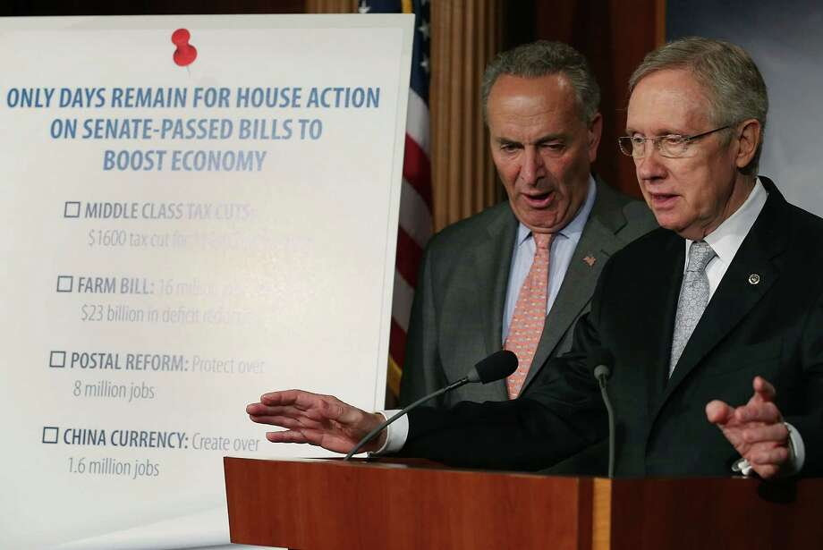 Senate Majority Leader Harry Reid and Senate Democratic Conference Vice  Chairman Charles Schumer discuss the House's failure to act on  Senate-passed legislation this Congress. The lack of action is a  stunning bipartisan failure. Photo: Mark Wilson, Getty Images / 2012 Getty Images