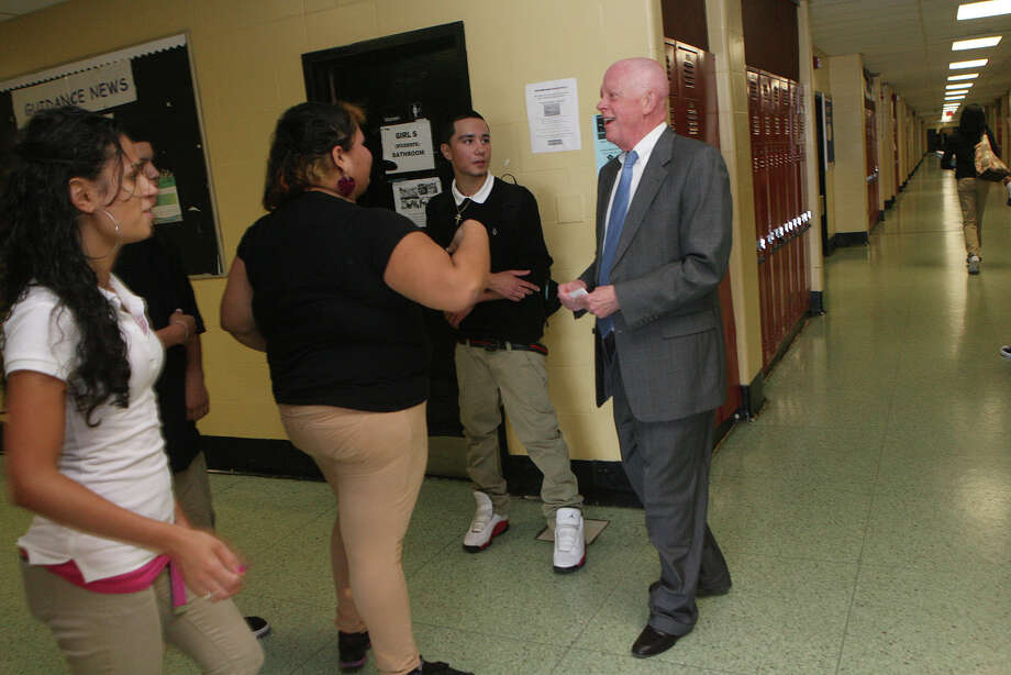 Principal Stephen Anderson greets students and walks the halls at Central High School in Bridgeport, Conn. on Monday, September 24, 2012. Photo: Unknown, B.K. Angeletti / Connecticut Post freelance B.K. Angeletti