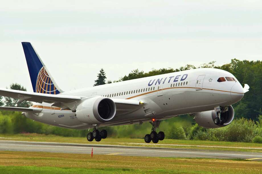 United Airlines Boeing 787 takes off and lands in its first production flight. United Airlines announces the first 787 Dreamliner route from Houston. The plane will fly nonstop to Lagos, Nigeria, five days a week beginning in January 2013. Credit United Airlines. Photo: United Airlines / 2012 The Boeing Company