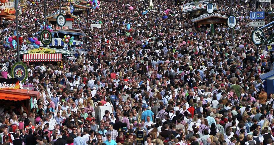 So many people looking for a beer. This is the general view over the Oktoberfest beer festival, seen from the Bavaria hills.   (Photo by Johannes Simon/Getty Images) Photo: Johannes Simon, Ap/getty / 2012 Getty Images