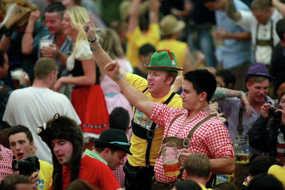 It's party time on Saturday at Hofbraeuhaus beer tent during Oktoberfest. (Photo by Johannes Simon/Getty Images) Photo: Johannes Simon, Ap/getty / 2012 Getty Images