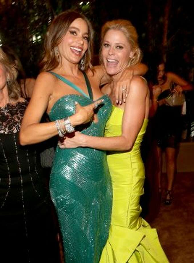 Actresses Sofia Vergara (L) and Julie Bowen attend the FOX Broadcasting Company, Twentieth Century FOX Television and FX 2012 Post Emmy party at Soleto on September 23, 2012 in Los Angeles, California. (Christopher Polk / Getty Images for FOX)