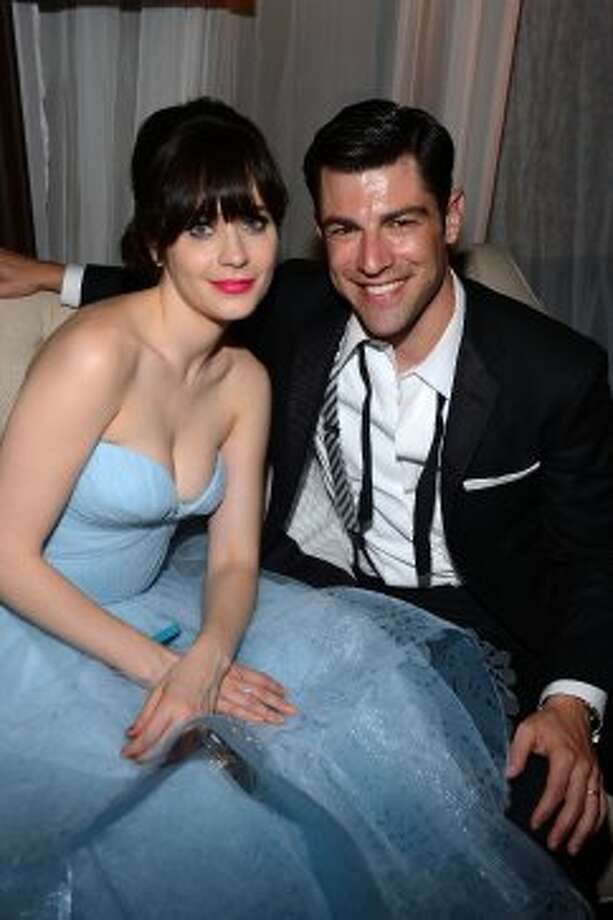 Zooey Deschanel and Max Greenfield attend FOX Broadcasting Company, Twentieth Century FOX Television and FX post Emmy party at Soleto on September 23, 2012 in Los Angeles, California.   (Mark Davis / Getty Images for FOX)