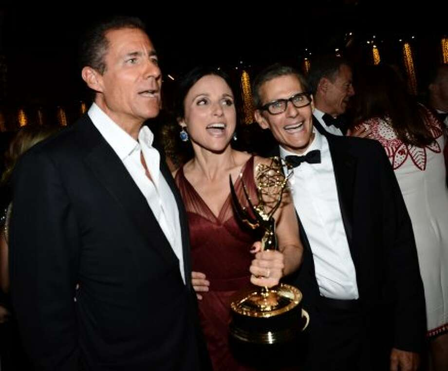 Richard Plepler, CEO HBO Entertainment, actress Julia Louis-Drefus and Michael Lombardo President of the Programming Group and West Coast Operations at HBO attend HBO's Annual Emmy Awards Post Awards Reception at the Pacific Design Center on September 23, 2012 in West Hollywood, California.   (Michael Buckner / Getty Images)