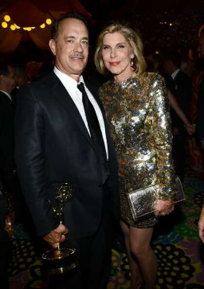 Actor Tom Hanks (L) and actress Christine Baranski attend HBO's Annual Emmy Awards Post Awards Recep
