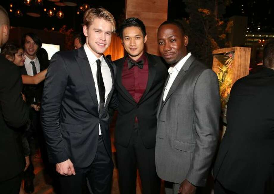 (L-R) Actors Chord Overstreet, Harry Shum Jr, and Lamorne Morris attend the FOX Broadcasting Company, Twentieth Century FOX Television and FX 2012 Post Emmy party at Soleto on September 23, 2012 in Los Angeles, California.  (Christopher Polk / Getty Images for FOX)