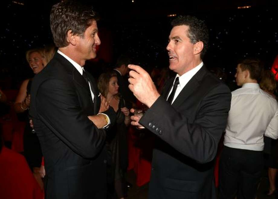 Director Steve Levitan and comedian Adam Carolla attend the 64th Primetime Emmy Awards Governors Ball at Los Angeles Convention Center on September 23, 2012 in Los Angeles, California.   (Kevin Winter / Getty Images)