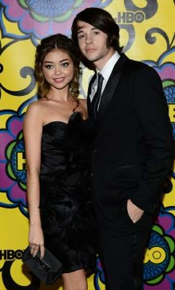 Actress Sarah Hyland (L) and actor Matt Prokop arrive at HBO's Annual Emmy Awards Post Awards Recept