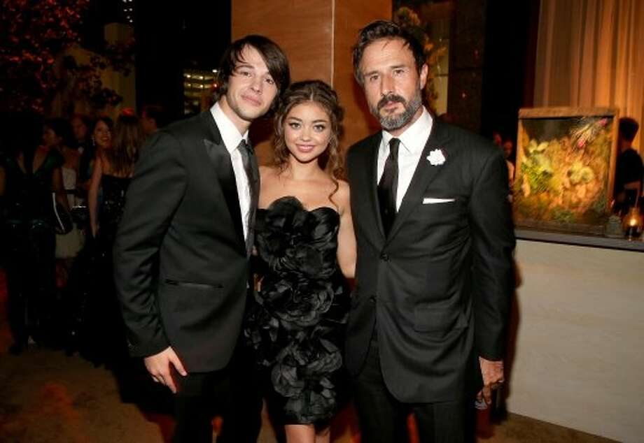 (L-R) Matt Prokop, actress Sarah Hyland, and  actor David Arquette attend the FOX Broadcasting Company, Twentieth Century FOX Television and FX 2012 Post Emmy party at Soleto on September 23, 2012 in Los Angeles, California. (Christopher Polk / Getty Images for FOX)