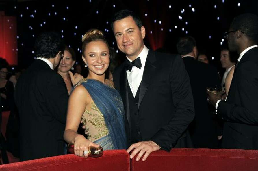 Hayden Panettiere, left, and Jimmy Kimmel pose at the 64th Primetime Emmy Awards Governors Ball on S